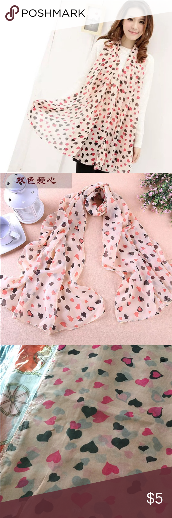 Pale Pink Hearts Scarf Pale pink hearts Scarf! 145cm x 40cm and made of polyester! Works really well as a hair or neck scarf! Price is firm on this item unless bulked! Item did not come with tag but has original wrapping! Accessories Scarves & Wraps