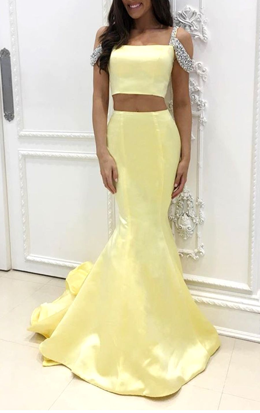Mermaid Off the Shoulder 2 Piece Prom Dress Canary Formal Evening ...