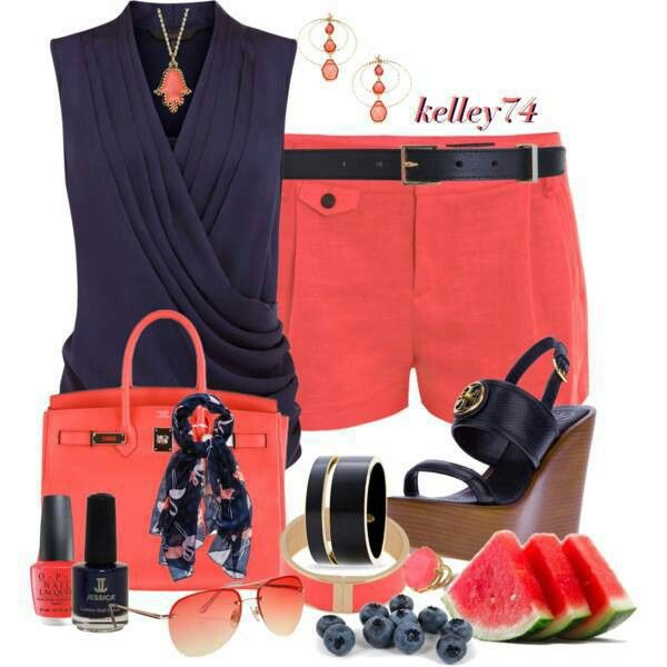Summer - like the top & color combo (not so much all the accessories)