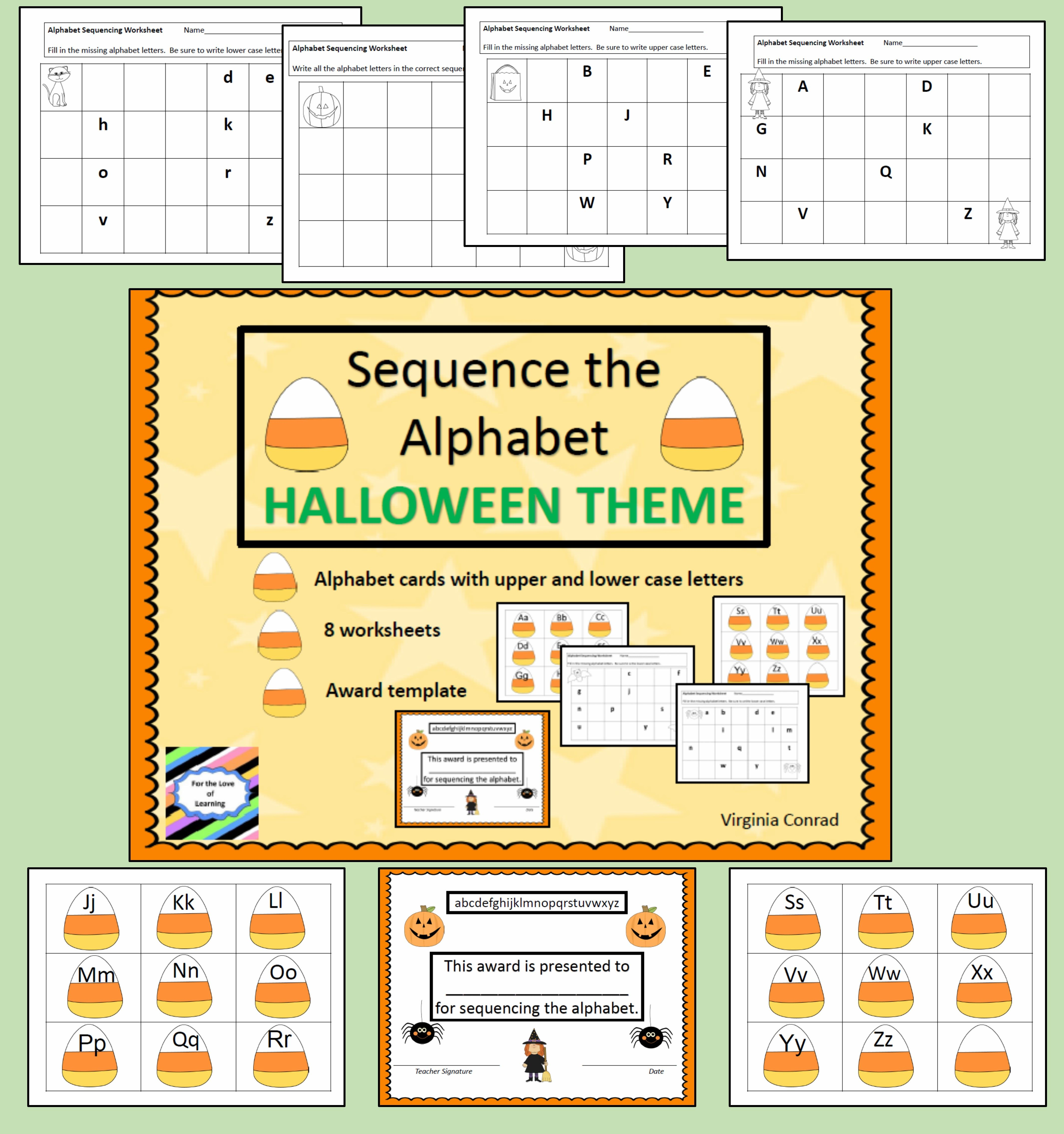 Alphabet Sequence Halloween Theme Abc Cards And
