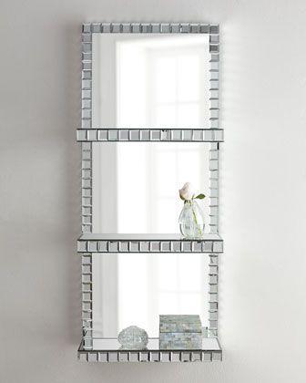 Mosaic Border Mirrored Shelf Wall Panel Bathroom