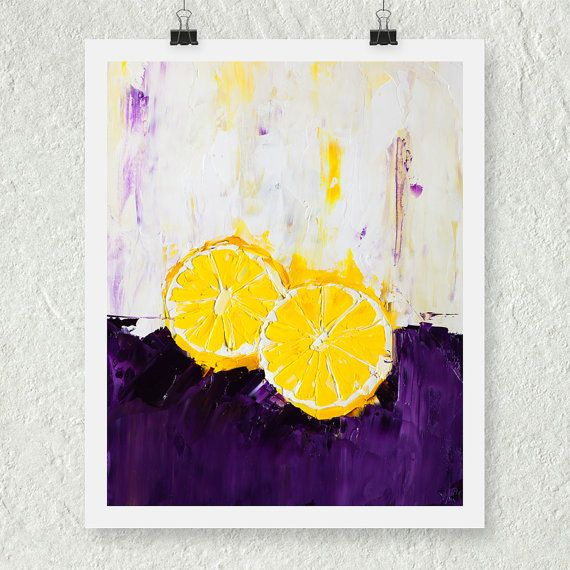 Purple And Yellow Kitchen Wall Art Unframed Kitchen: Lemon Print, Citrus Fruit Print, Small Art Print