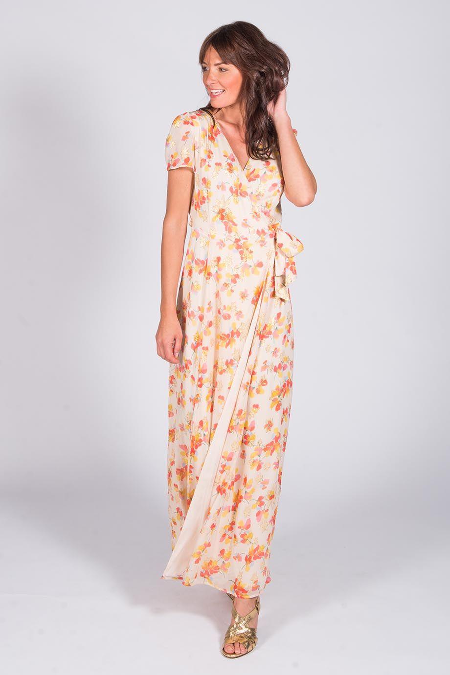 Superbe robe longue à motifs fleuris + dorés