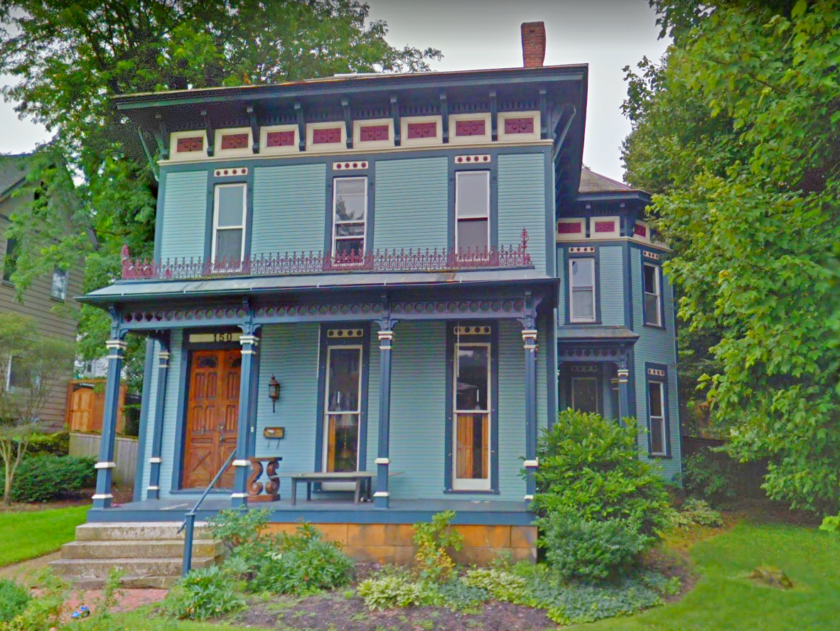 Gorgeous Italianate Style Wooden Victorian Period Built Home Featuring A French Blue Red And White Color Scheme And Deco Victorian Homes Wooden Porch House