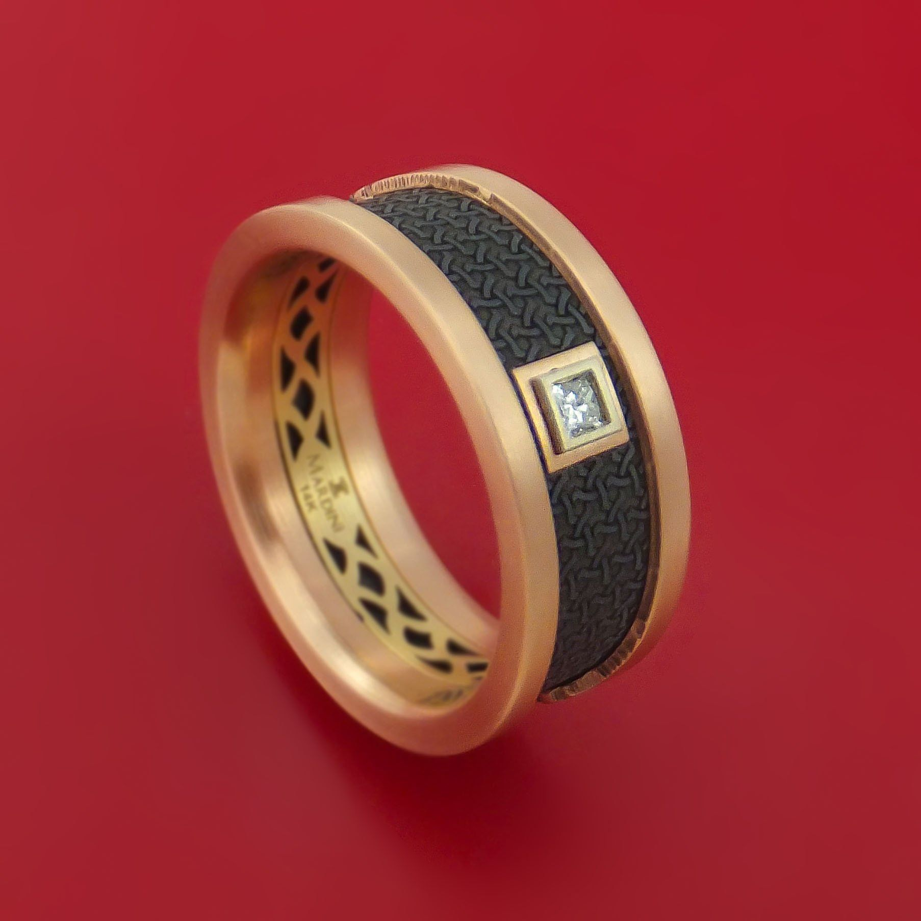 14K Rose and Yellow Gold with Carbon Fiber and Diamond