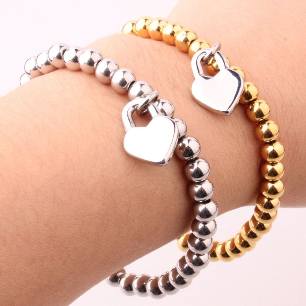 Womens stainless steel love peach heart charm ball beads