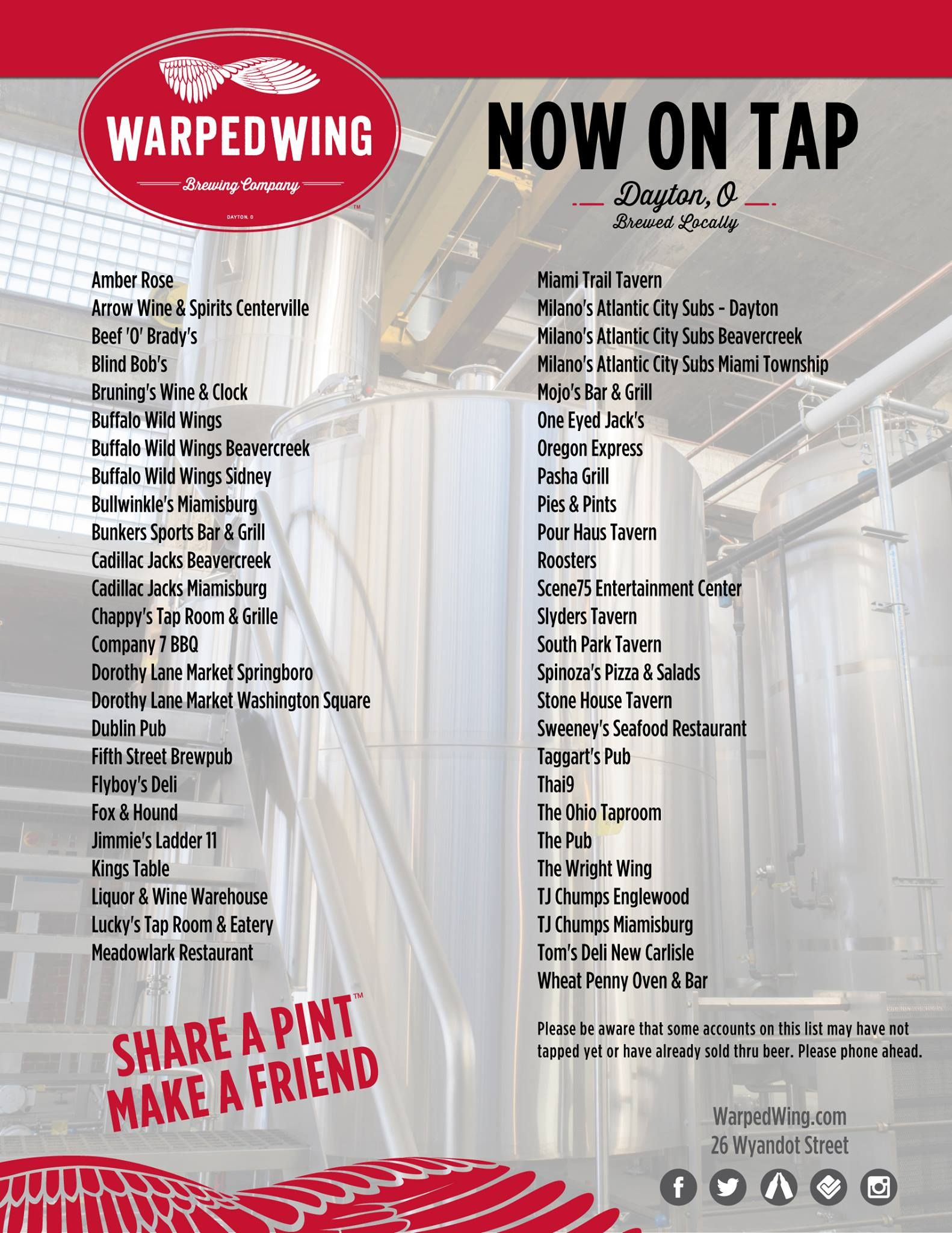 Warped Wing Brewing Company On Tap In The Dayton Metro Area Http Www Warpedwing Com Brewery Beer Brewing Company