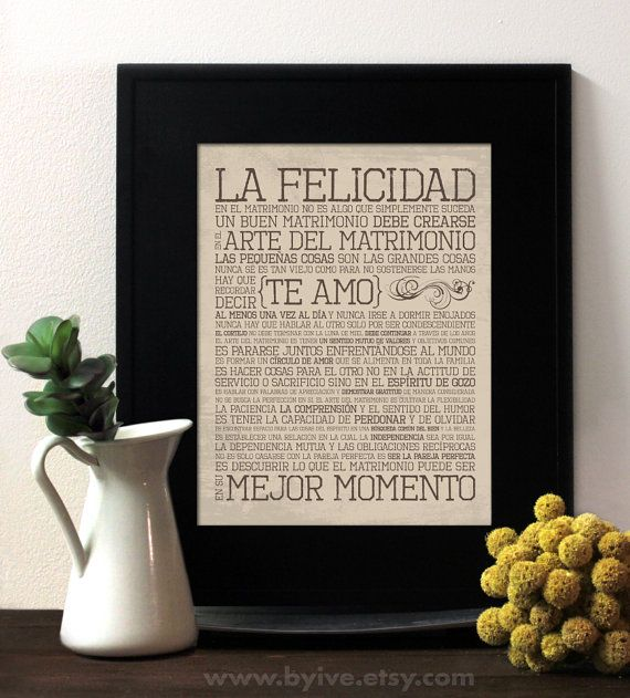 El Arte Del Matrimonio The Art Of Marriage In Spanish Wedding Vows Perfect Gift Subway Unframed