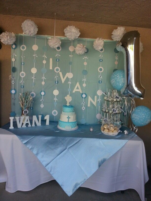 Blue And White Baptism Dessert Table Baby Boy Baptism Boy
