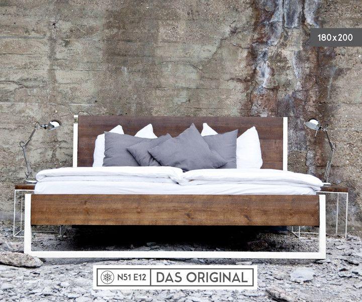 Bett Industrial loft vintage industrial bett 180x200 holz stahl vintage