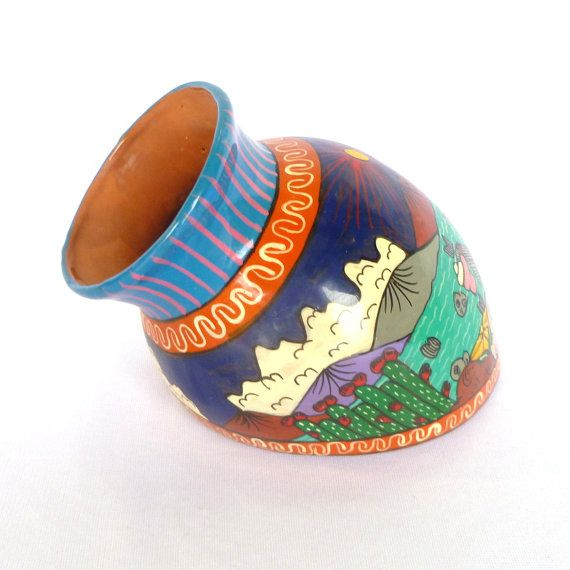 Vintage MEXICAN WALL PLANTER/ Handpainted Terra Cotta