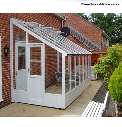 traditional painted lean-to greenhouse which is 6 feet 8 inch wide