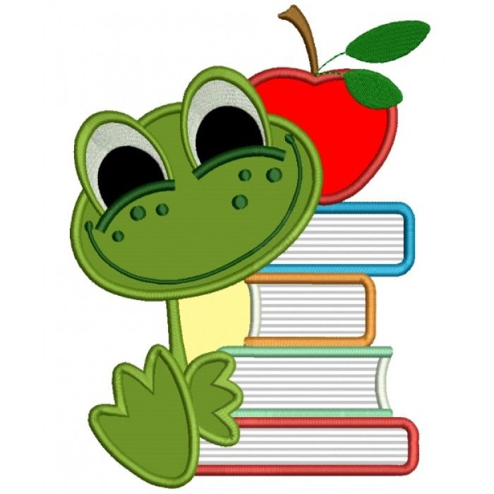 Baby Frog With Books School Applique Machine Embroidery ...