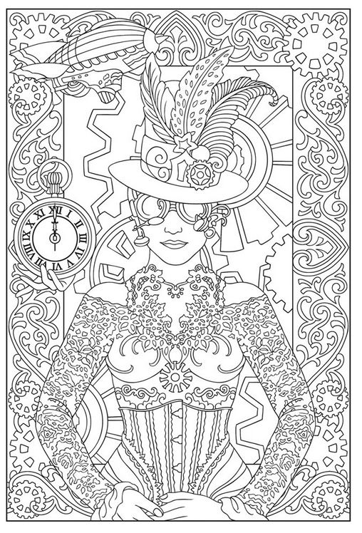Free Steampunk Coloring Page | Coloring | Pinterest | Malbücher und ...