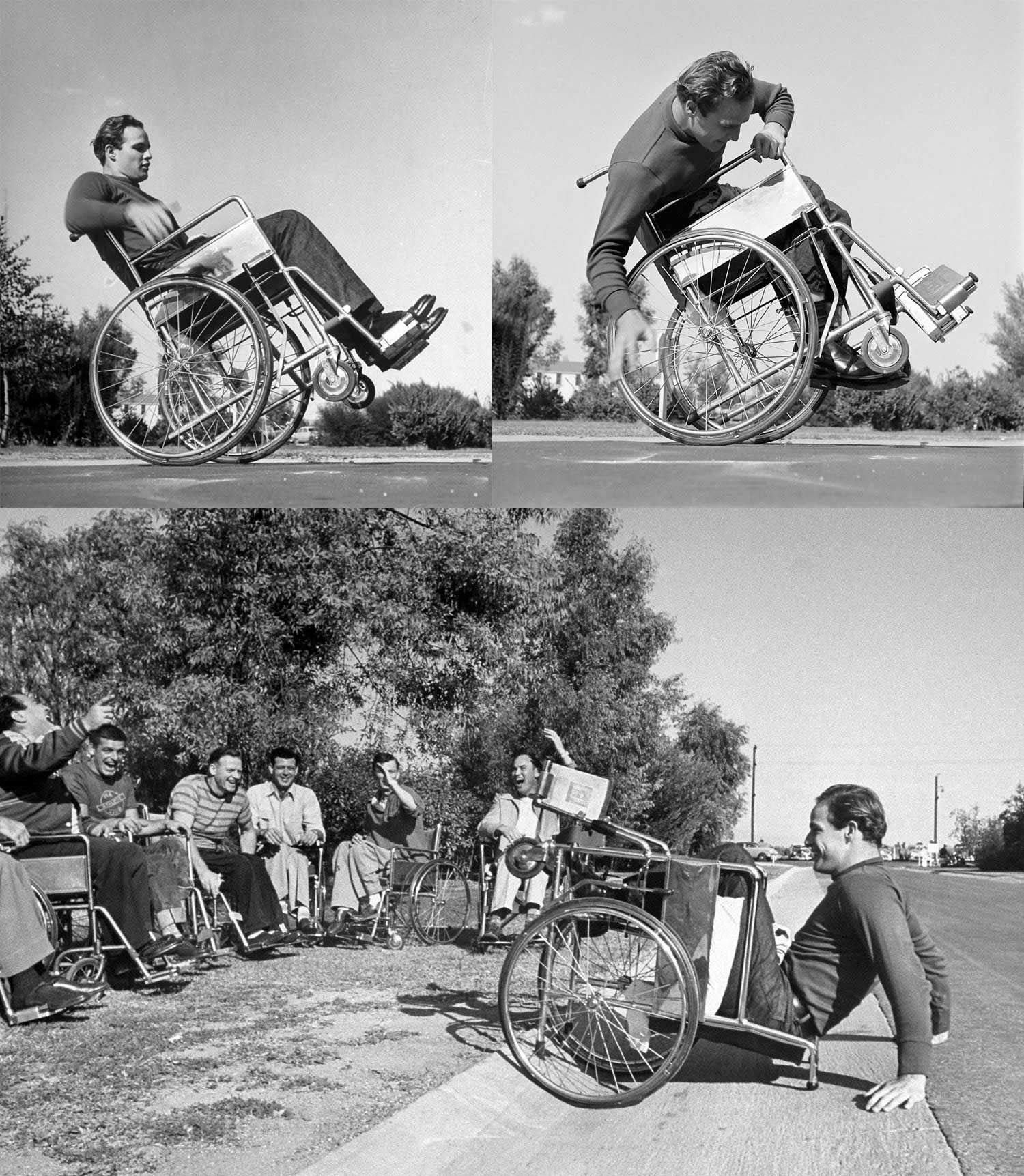 Marlon Brando practicing his wheelchair technique for his role as a disabled veteran in The Men, 1950, Fred Zinnemann.