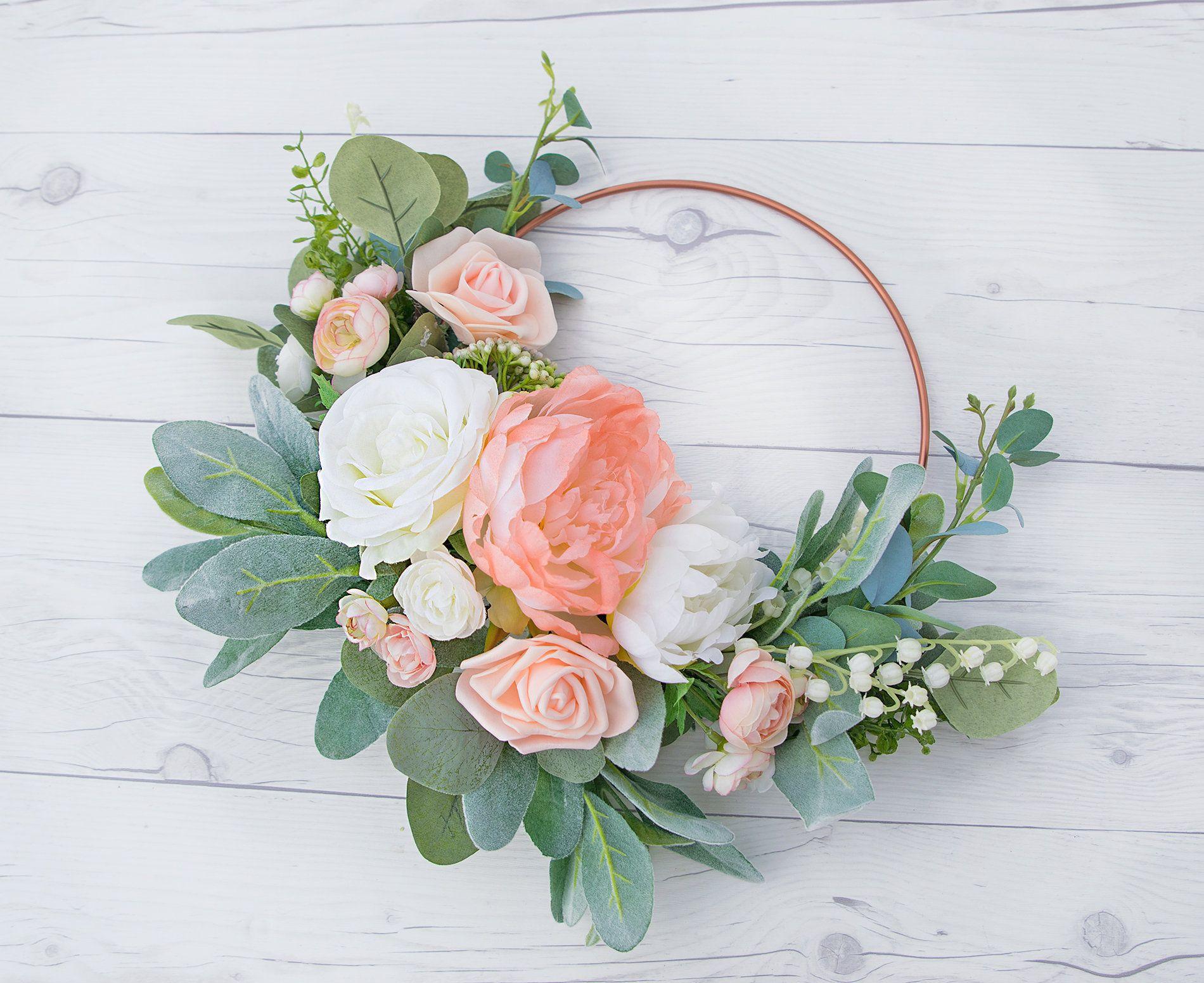 Photo of Boho Hoop, Hoop Wreath, Peach Bouquet, Boho Bouquet, Eucalyptus Hoop, Wreath Bouquet, Bridesmaid Hoop, Blush Hoop, Eucalyptus Boho Wreath