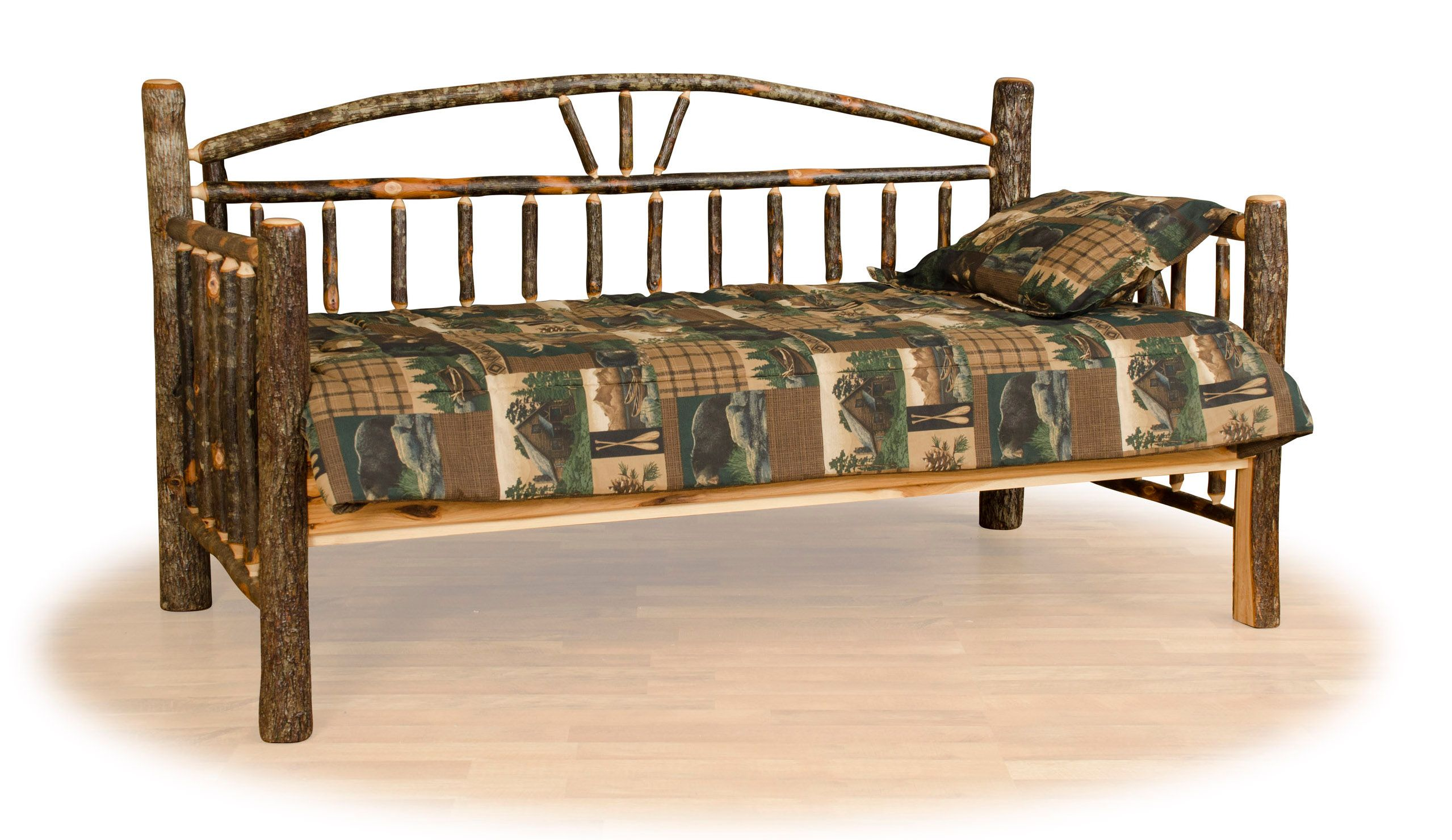 Rustic hickory log day bed.  Great rustic country styling for a log cabin, mountain lodge, or country cottage.  Authentic, Amish made in the USA.