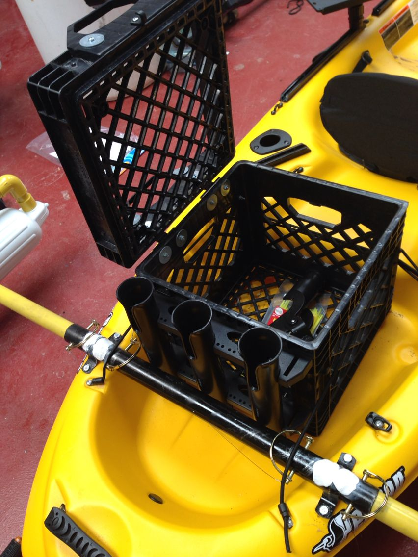 carry crate with rod holders for kayak kayak pinterest