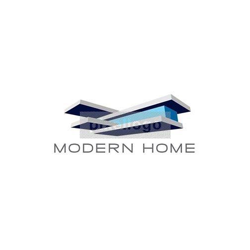 Modern Home Logo, Minimalist Architectural House Logo