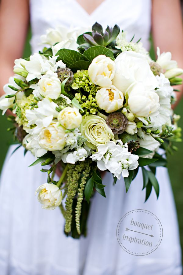 Green And White Wedding Bouquet One Hitched Lane