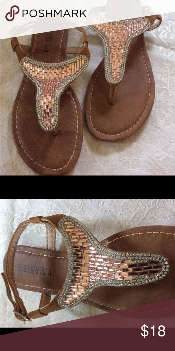 a97a4b37c6f09 Steven Ella rhinestone beaded t-strap sandals. These sandals are very cute.  I bought them on eBay but they don t fit well on my wide feet.
