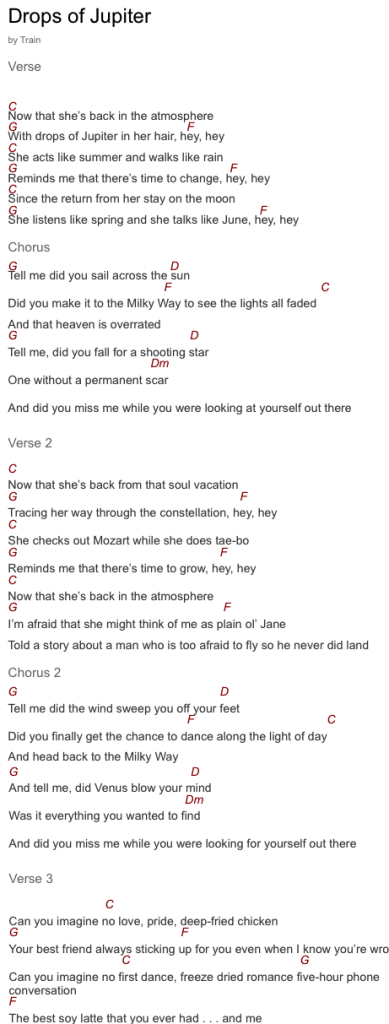 Drops of jupiter chords and lyrics | Guitar Chords | Pinterest ...