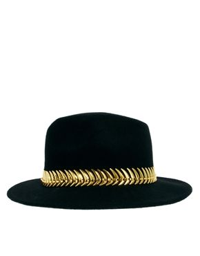 f6f91bf13f3 black and gold fedora Asos Curve