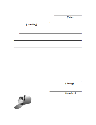 Friendly letter template for 2nd grade how to format for Letter writing template for first grade