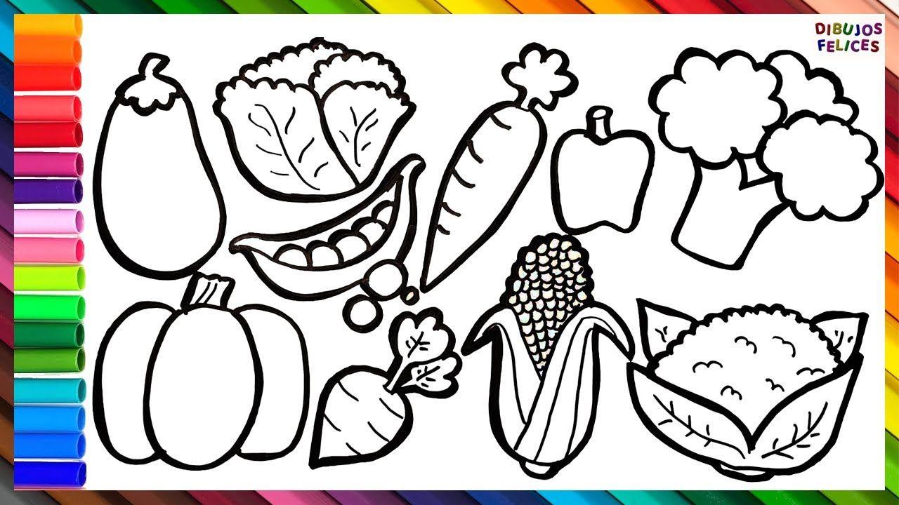 Como Dibujar Y Colorear 10 Vegetales Dibujos Para Ninos Vegetales Dibujos Dibujos Para Ninos Dibujos De Colores