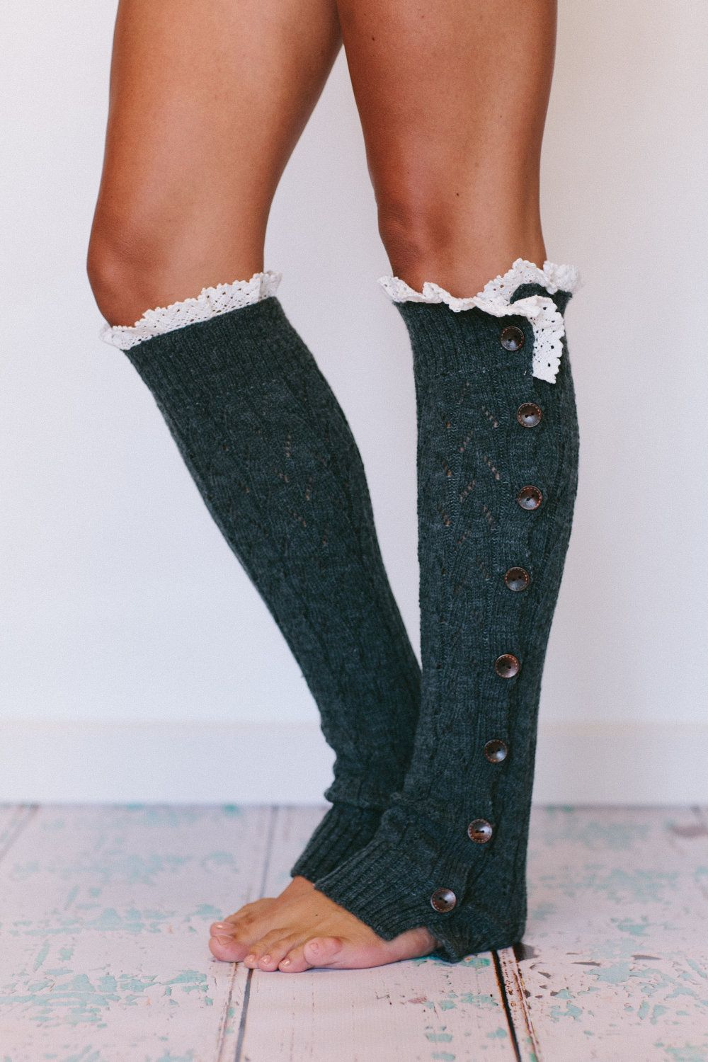 21470434237 Lacy Knitted  Leg  Warmers Button Down Smoke Gray