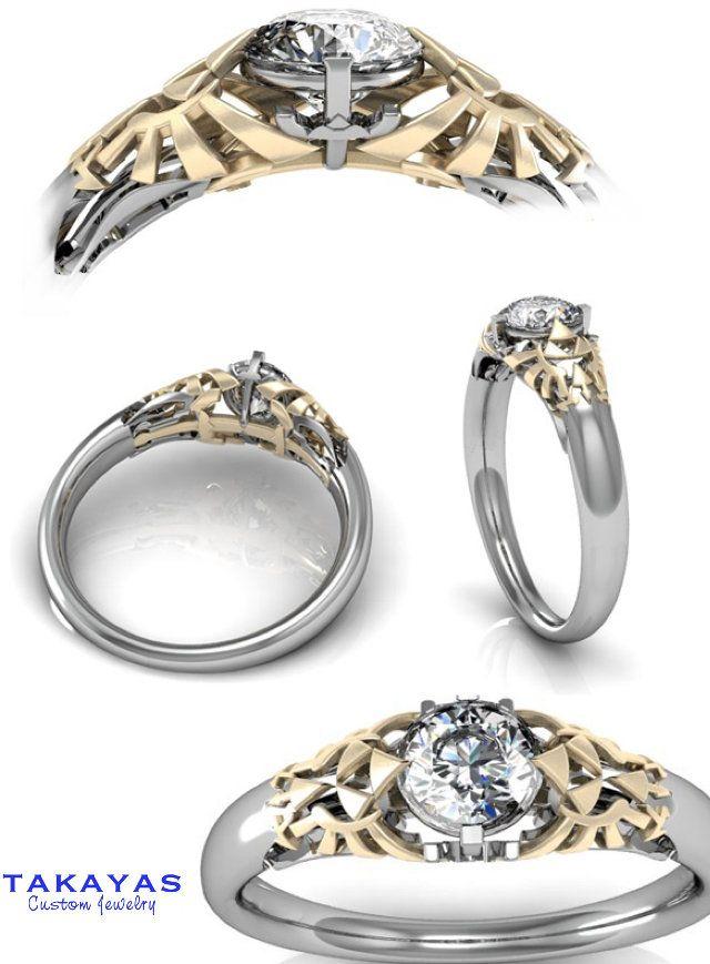 Triforce Engagement Ring Round Brilliant Zelda Engagement Ring Zelda Ring Zelda Engagement