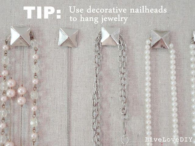 Use decorative nailheads to hang jewelry Jewelry Organizer DIY