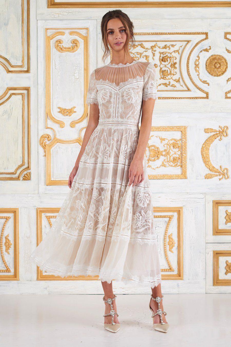 Tadashi Shoji Lace Jewel A Line Cocktail Dress Cocktail Dress Wedding Tea Length Dresses Midi Wedding Dress [ 1350 x 900 Pixel ]