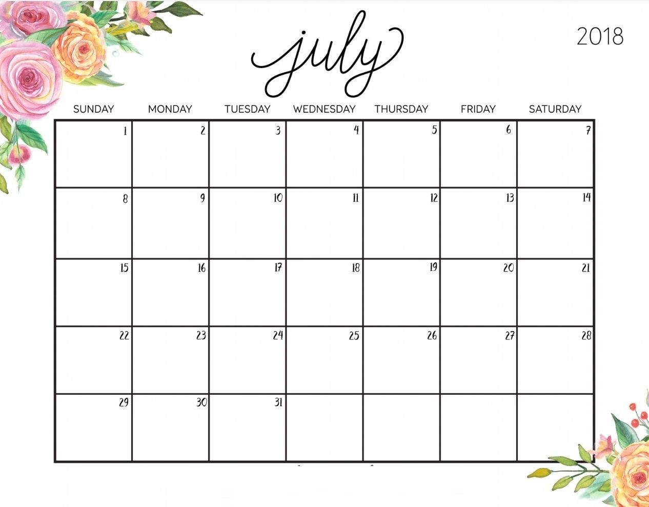 photograph relating to July Calendar Printable named July 2018 Calendar Printable Adorable July 2018 Printable