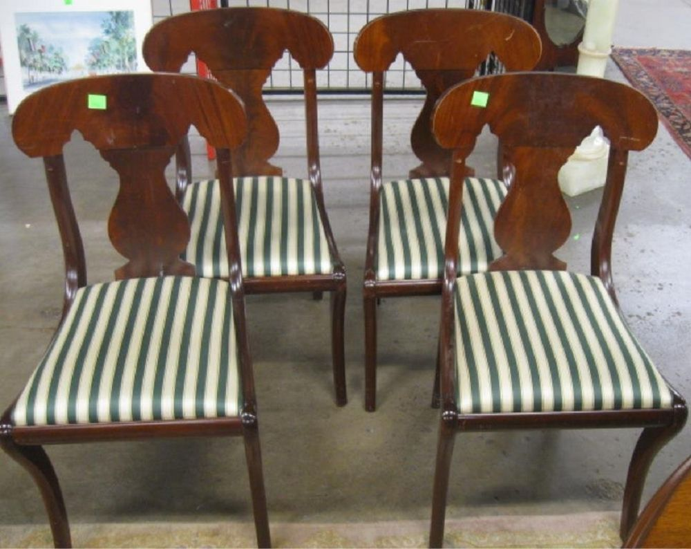 4 BIGGS FURNITURE KITTINGER Empire Style Dining Room Chairs Side Accent Vintage BiggsFurniture