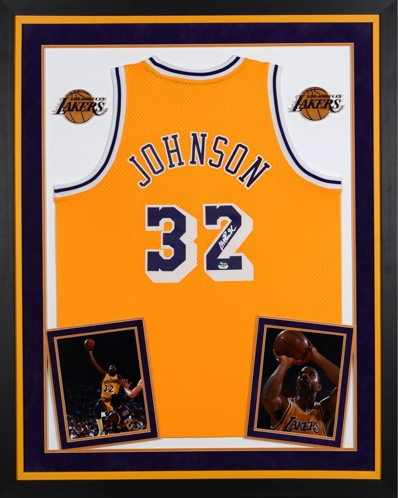 c39b96c73 Magic Johnson LA Lakers Signed Framed Yellow Jersey - Fanatics ...