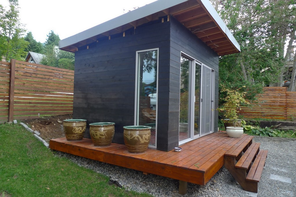 Outside Office with deck Backyard office, Shed, Studio shed