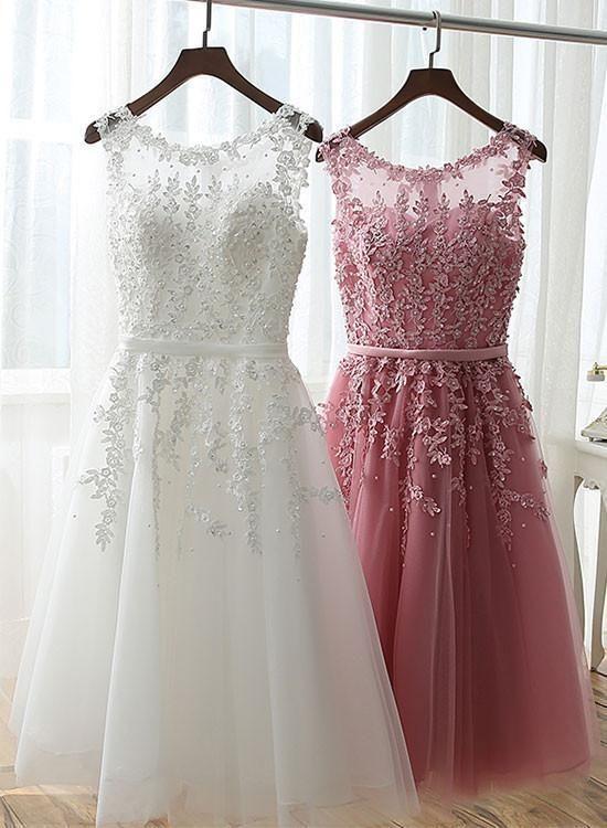 A Line Lace Short Prom Dress Lace Homecoming Dres In 2020 Kleider Konfirmation Kleider Abschlussball Kleider
