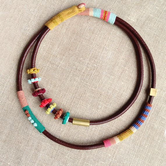 leather necklace with crocheted flowers and tubes by kjoo on Etsy