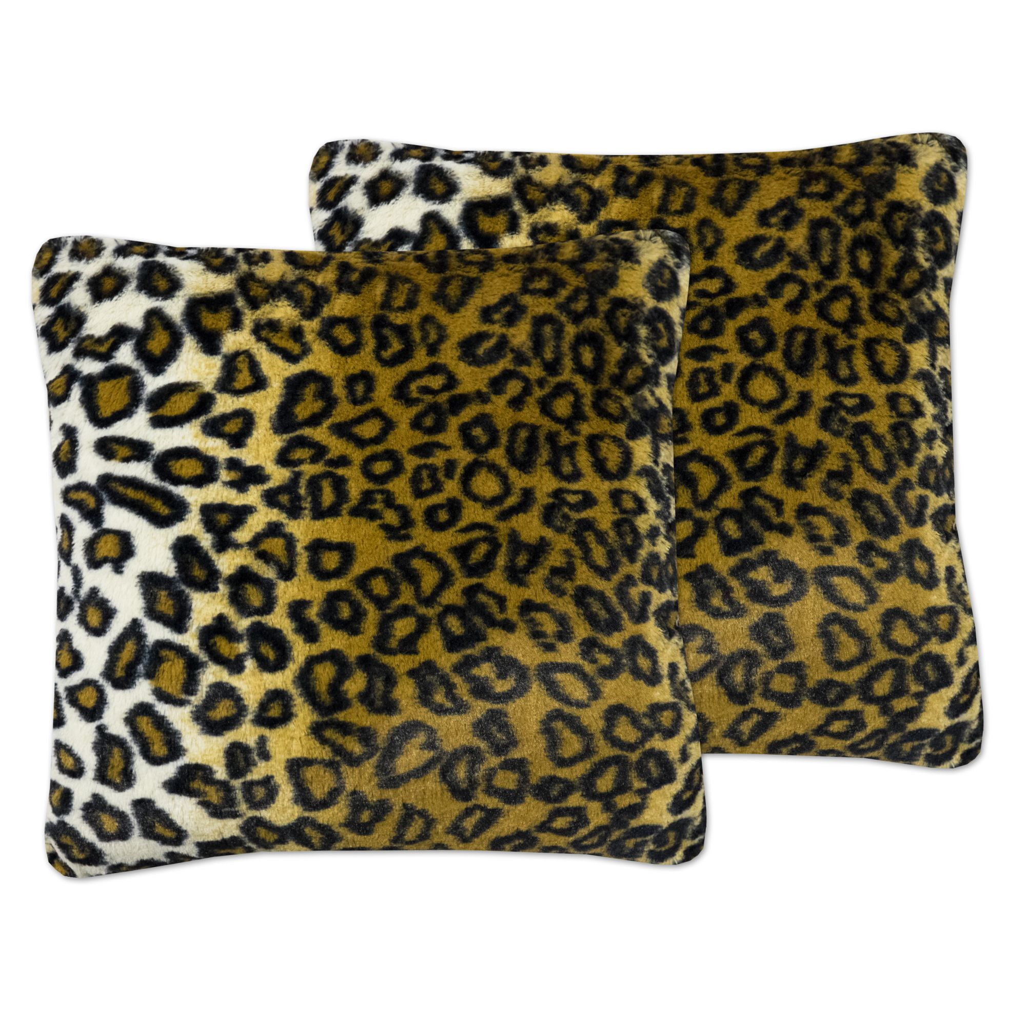 Sweet Home Collection Leopard Print Plush 18-inch x 18-inch Accent Pillows