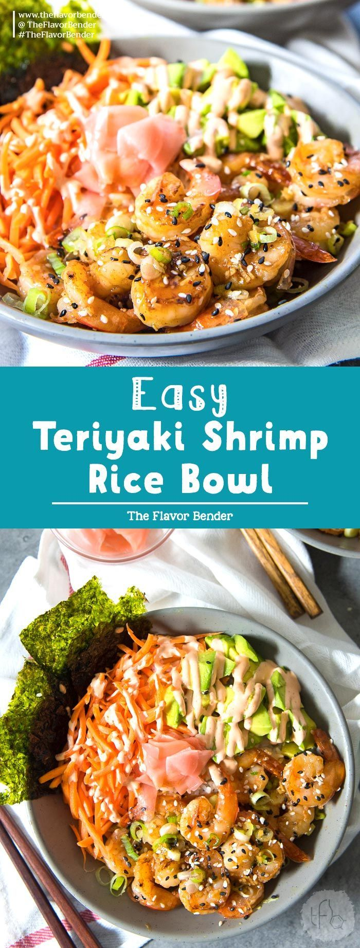 Easy Teriyaki Shrimp Rice bowls - Sweet and spicy shrimp ...