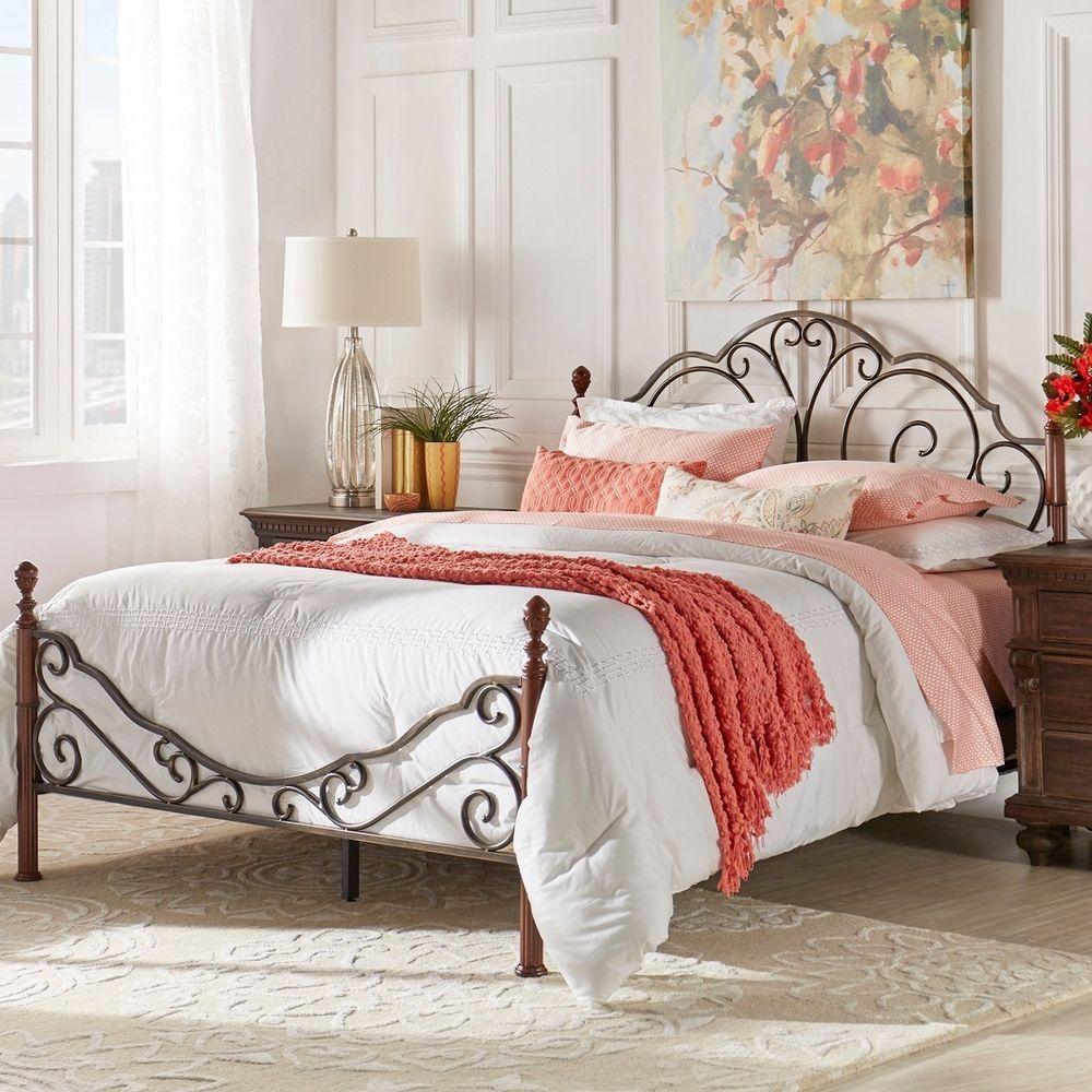Wrought Iron Queen Bed Scroll Metal Frame Bedroom