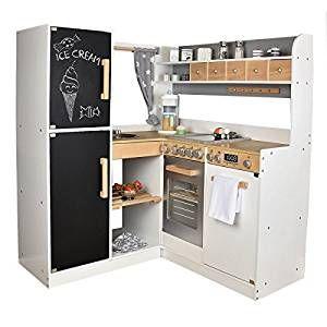 kinderk che paris xxl aus holz grau weiss eck. Black Bedroom Furniture Sets. Home Design Ideas