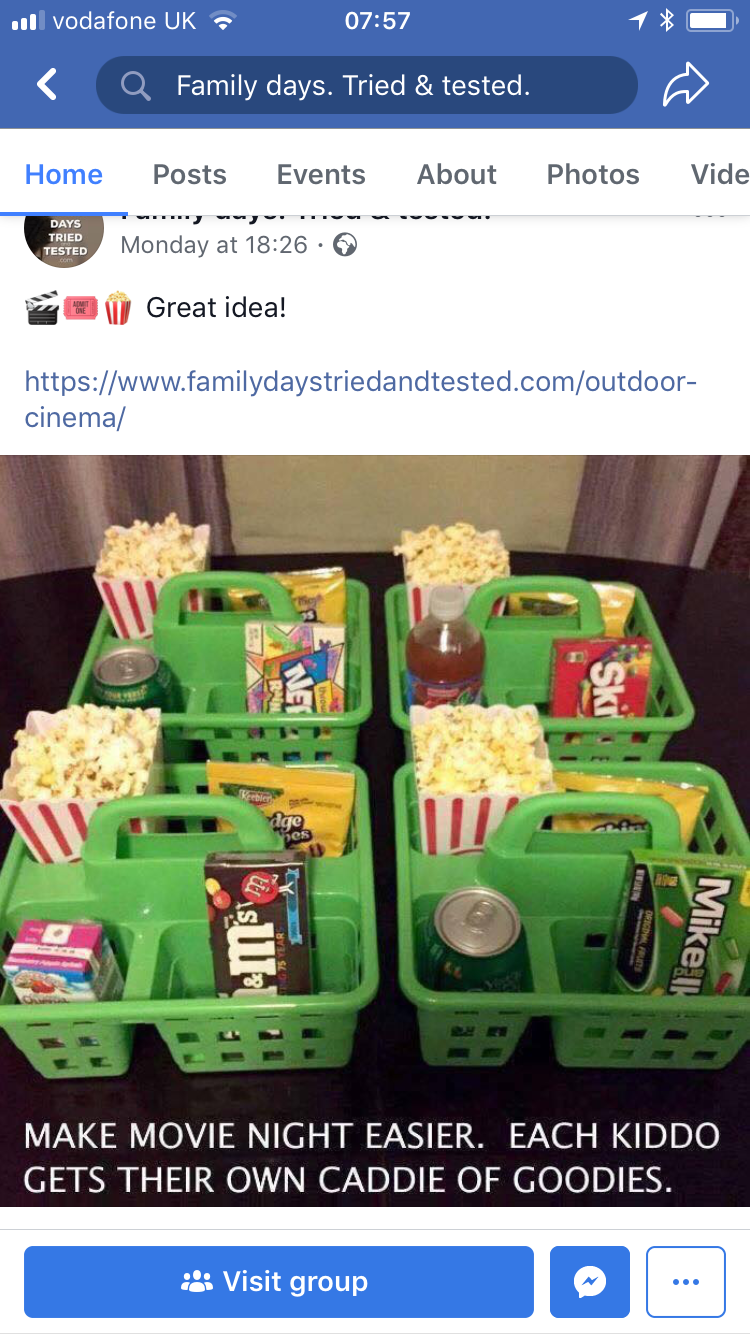 Cinema caddy's Movie night snacks, Movie night, Snack