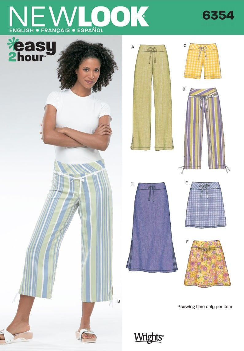 Patterns - New Look 6354 MISSES\' PANTS IN TWO LENGTHS, | I Need More ...