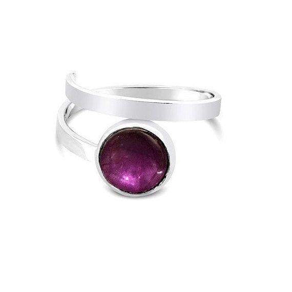 Pink Amethyst SIlver Adjustable Ring