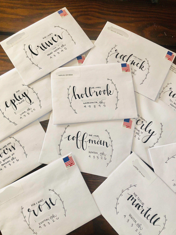 Custom Handwritten Place Cards Mail Art Envelopes Hand Lettering Envelopes Hand Lettering