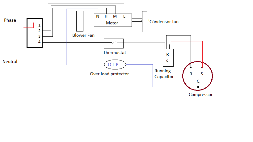 ac wiring diagram of window airconditioner psc wiring a c in rh pinterest com ac connection circuit car ac wiring circuit
