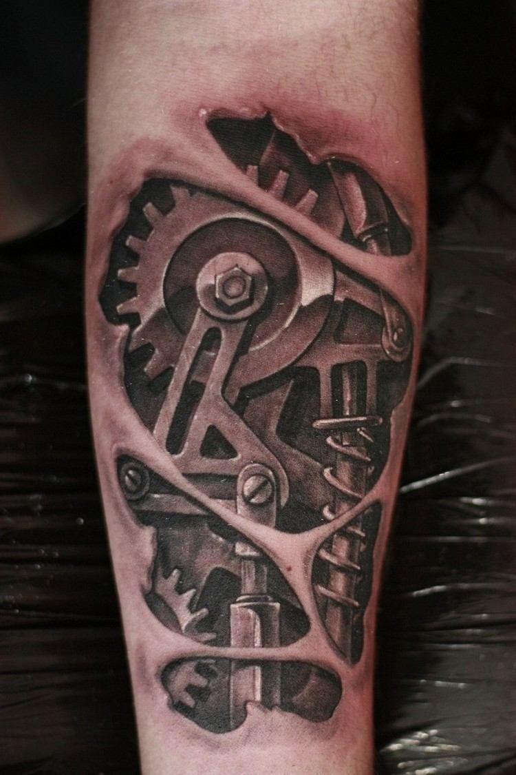 Biomechanik Tattoo Unterarm Zahraeder 3d Effekt Arm Bilder Biomechanik Bionic Fur Biomechan In 2020 Biomechanical Tattoo Hand Tattoos For Guys Ripped Skin Tattoo