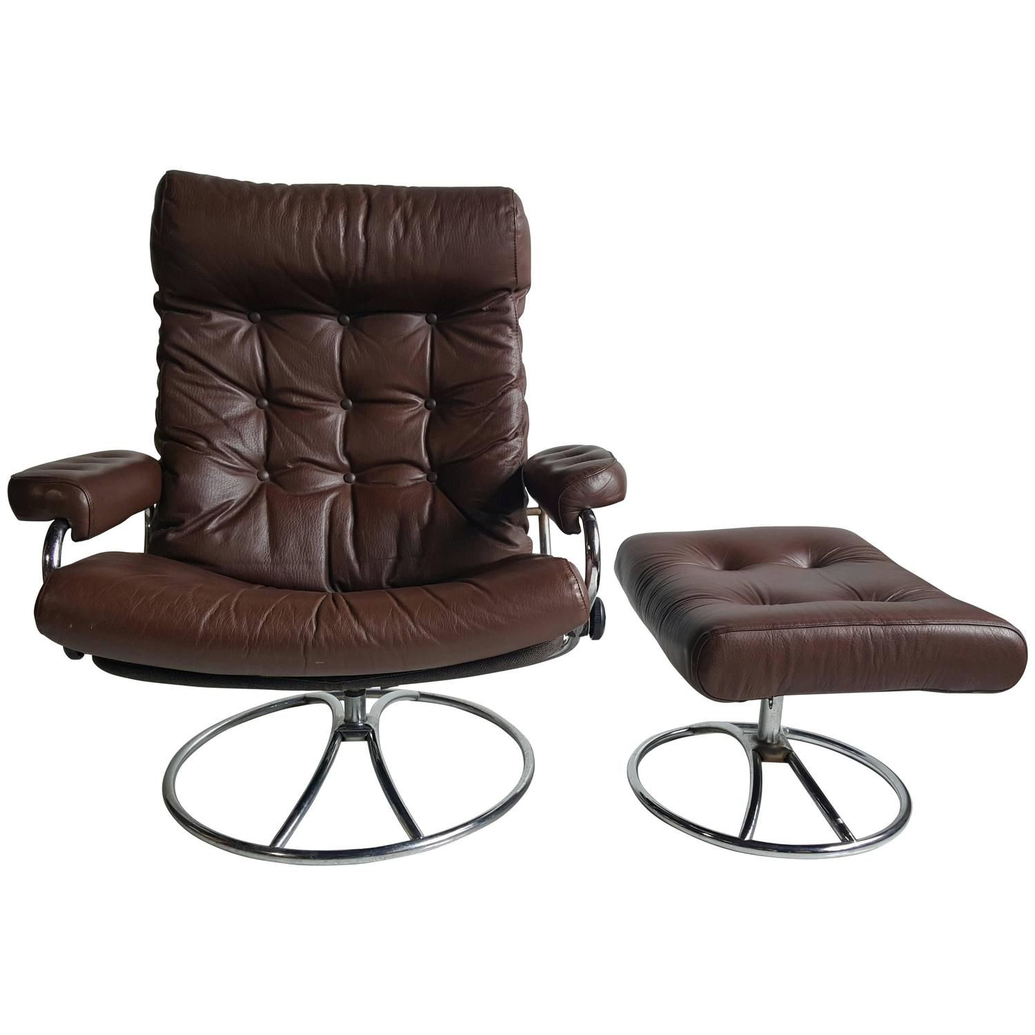 Charming Brown Leather Ekornes Stressless Lounge With Ottoman, 1960
